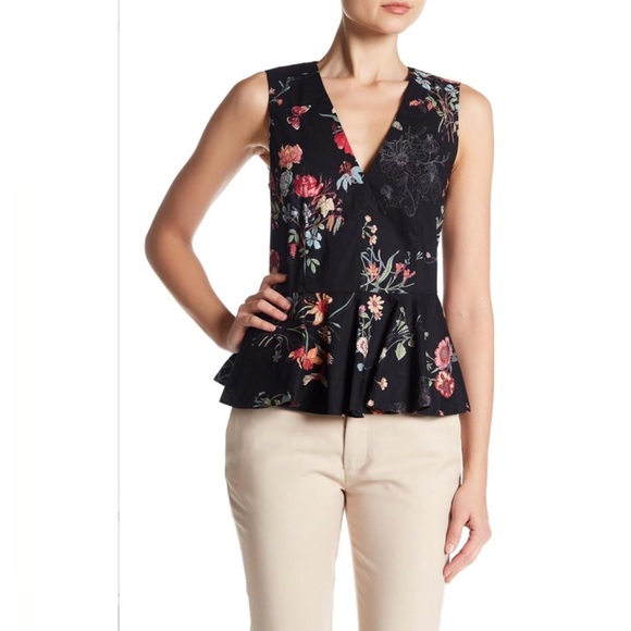 a01e438f14cad2 Rebecca Taylor Black Meadow Floral Peplum Blouse
